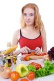 烹调成份意大利面食妇女 库存照片