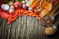 烹调成份的泰国食物 免版税库存图片