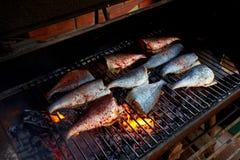 烹调新鲜的鳟鱼和海鲷在bbq 库存照片