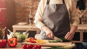 烹调新鲜蔬菜沙拉的成熟妇女在厨房里 库存图片