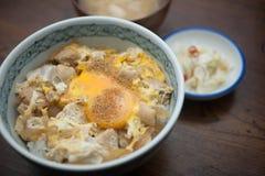 烹调日本人oyakodon 图库摄影