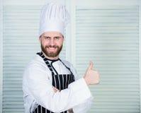烹调是我的激情 专家在厨房里 烹饪烹调 厨师在餐馆 厨师准备好烹调 确信 免版税图库摄影