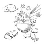 烹调晚餐沙拉剪影  免版税库存照片