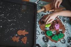 烹调曲奇饼的妈妈在舒适家庭厨房里 在被计划一个烤板的桌上用曲奇饼、曲奇饼切削刀、面团和袋子o 库存图片