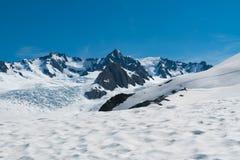 烹调有雪着陆和明白蓝天背景的,新西兰登上 免版税图库摄影