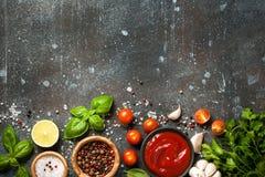 烹调桌用香料和草本 图库摄影