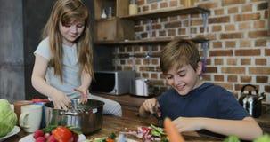 烹调沙拉的愉快的孩子谈话与喝酒,快乐的家庭的父母一起准备食物在厨房里 股票录像
