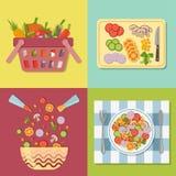 烹调沙拉 健康新鲜的五颜六色的菜 免版税库存照片