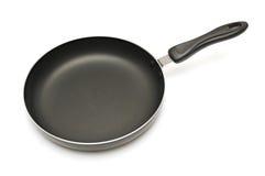 烹调油煎查出的平底锅白色的设备 免版税库存图片