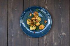 烹调治疗了莳萝gravlax三文鱼盐斯堪的纳维亚人糖 森林蘑菇、土豆和莳萝在nav 免版税图库摄影