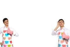 烹调滑稽的人二的围裙拼贴画 库存照片
