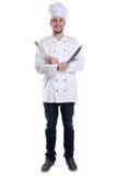 烹调烹调与刀子的学徒实习生站立充分的身体jo 库存图片