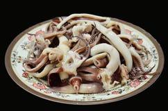 烹调煮沸的章鱼和乌贼 库存图片