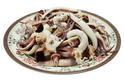 烹调煮沸的章鱼和乌贼 免版税库存图片
