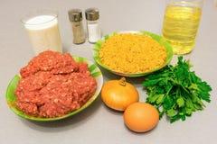 烹调的丸子成份:肉末,面包渣,米尔 图库摄影