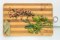 烹调的各种各样的盘和沙拉香料在切板 库存照片