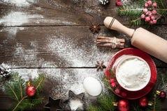 烹调的圣诞节烘烤成份 免版税图库摄影