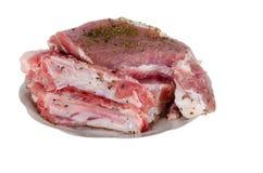 烹调的未加工的猪肉 免版税图库摄影