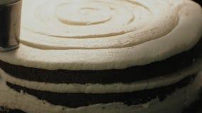 烹调的概念 专业点心师做一个可口蛋糕,特写镜头 影视素材