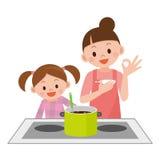 烹调的母亲和女儿 库存例证