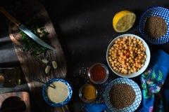 烹调的沙拉三明治、鸡豆、tahini和香料特写镜头成份 免版税图库摄影