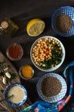 烹调的沙拉三明治、鸡豆、tahini和香料顶视图成份 免版税库存图片