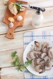 烹调的虾用大蒜和姜 免版税库存图片