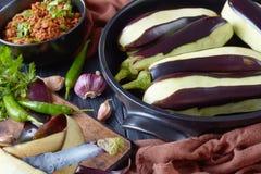 烹调的被充塞的茄子成份 库存照片