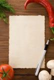 烹调的食谱背景 免版税库存图片