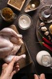 烹调的鸡咖喱成份在桌特写镜头 印第安食物 免版税库存照片
