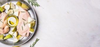 烹调的鸭胸脯成份用果子,草本蜂蜜煎锅,边界,文本的地方 免版税库存图片