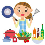 烹调的主妇 向量例证
