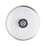 烹调罐平底锅的不锈钢盖帽被隔绝在白色背景 免版税库存照片