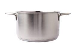 烹调罐平底锅的不锈钢被隔绝在白色背景 库存图片