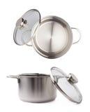 烹调罐平底锅的不锈钢被隔绝在白色背景 免版税库存图片