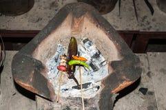 烹调老挝人食物,老挝 免版税库存图片