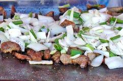 烹调肉和葱在平板炉 免版税图库摄影