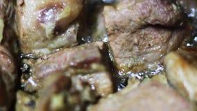 烹调肉炖煮的食物 股票视频