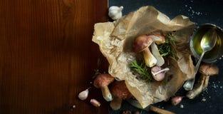烹调背景的秋天;有机porcini蘑菇;晒干 免版税库存照片