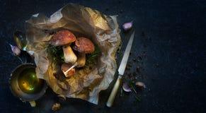 烹调背景的秋天;有机porcini蘑菇 库存照片