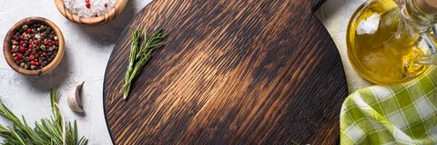 烹调背景的食物 长的横幅格式 免版税库存照片