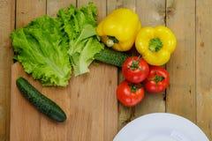 烹调自创菜沙拉用蕃茄,染黄胡椒,黄瓜 库存照片