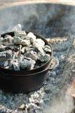 烹调荷兰烘箱的营火 免版税库存图片