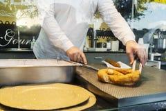 烹调葡萄牙纤巧的人由farturas知道 免版税库存图片