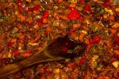 烹调葱、红萝卜、辣椒粉、蕃茄、草本和香料汤的一个烘烤在向日葵油在煎锅 免版税库存照片