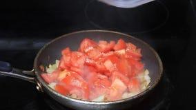 烹调葱和蕃茄 股票视频