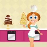 烹调蛋糕的妇女 免版税图库摄影