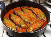 烹调被充塞的茄子 库存照片