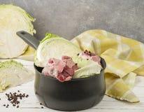 烹调被炖的圆白菜传统挪威盘与l的 图库摄影