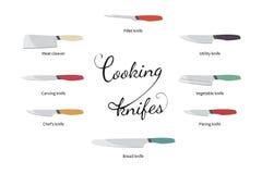 烹调被设置的刀子的传染媒介例证 免版税图库摄影